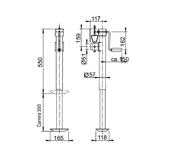 Pie de apoyo de 55cm con manivela lateral